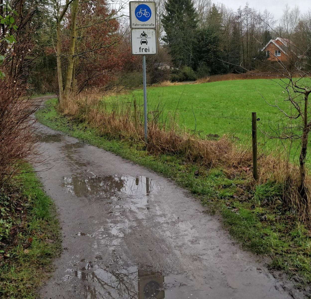 """Die Fahrradstraße """"Am Hohen Ufer"""" aus Richtung des Werse Radweges. Das Bild zeigt einen Feldweg mit Pfützen. Mittig des Bildes steht das Fahrradstraßen-Schild mit dem Zusatz """"KFZ-Frei"""". Das Schild spiegelt sich in den Pfützen am Boden. Rechts des Weges ist ein Weidezaun und eine grüne Wiese."""